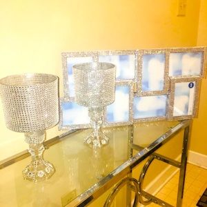 Picture frame with candle holders